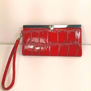 Chateau Red Faux Leather Clutch/Wristlet